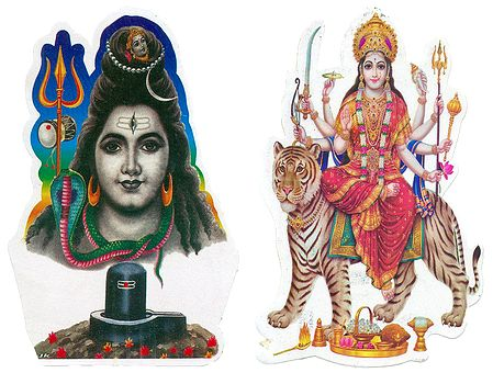 Shiva and Bhagawati - Set of 2 Stickers