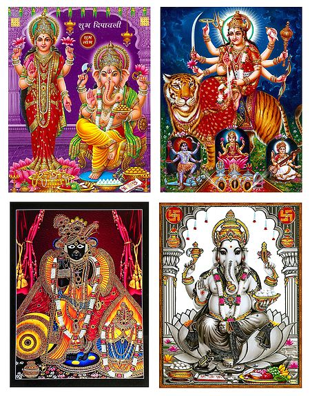 Lakshmi,Ganesha,Srinathji and Vaishno Devi - Set of 4 Posters