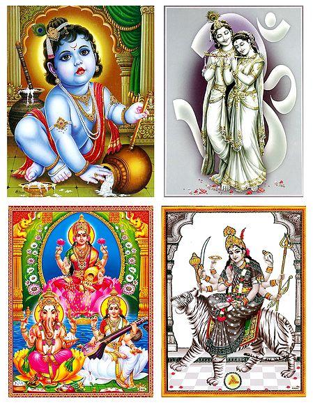 Set of 4 Hindu Deity Posters