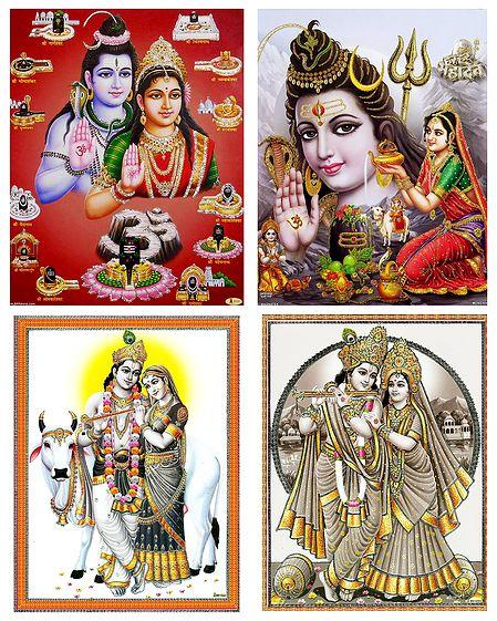 Shiva Parvati and Radha Krishna - Set of 4 Posters