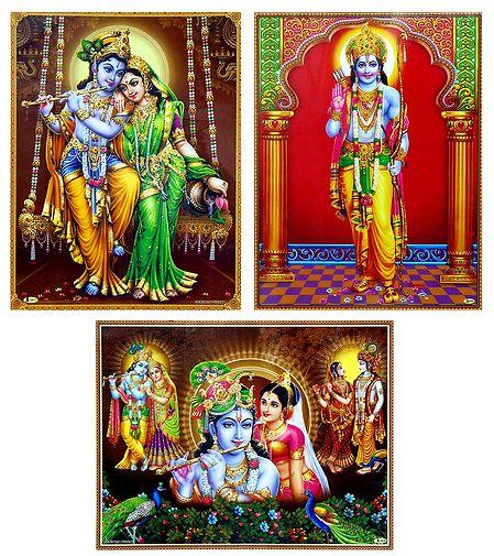 Radha Krishna and Lord Rama - Set of 3 Laminated Posters