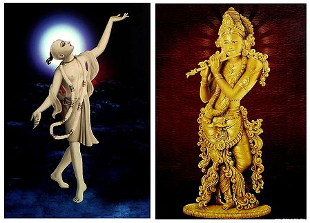 Chaitanyadev and Lord Krishna - Set of 2 Posters