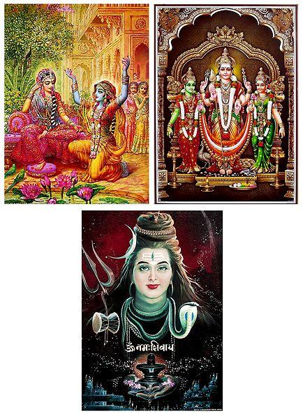 Shiva,Krishna in Disguise with Radha and Kartikeya with Devasena and Valli - Set of 3 Posters