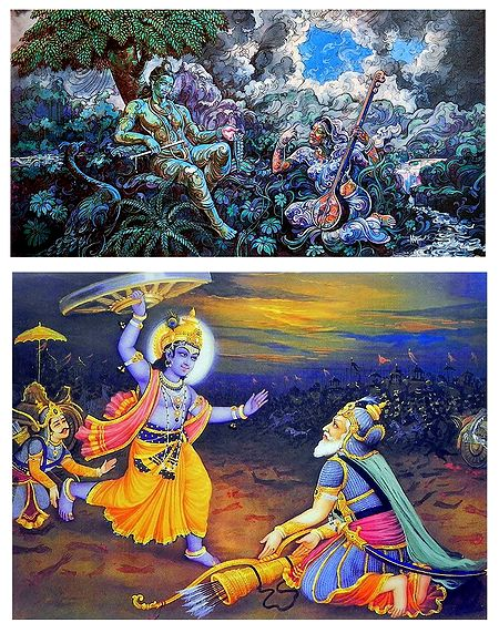 Radha Krishna and Krishna Bhishma - Set of 2 Posters