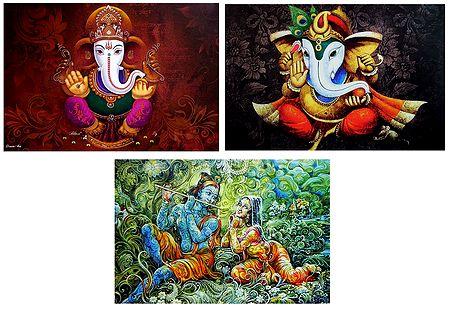 Lord Ganesha and Radha Krishna - Set of 3 Posters