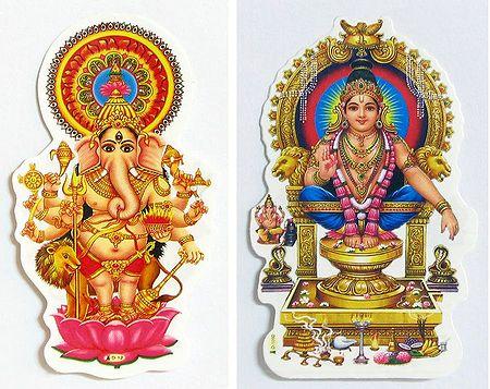 Ganesha and Ayyappan - Set of Two Stickers