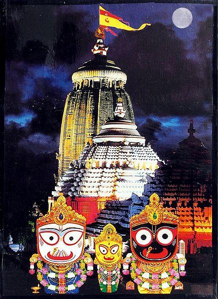 Laminated Jagannath, Subhadra and Balaram with Puri Temple in Background
