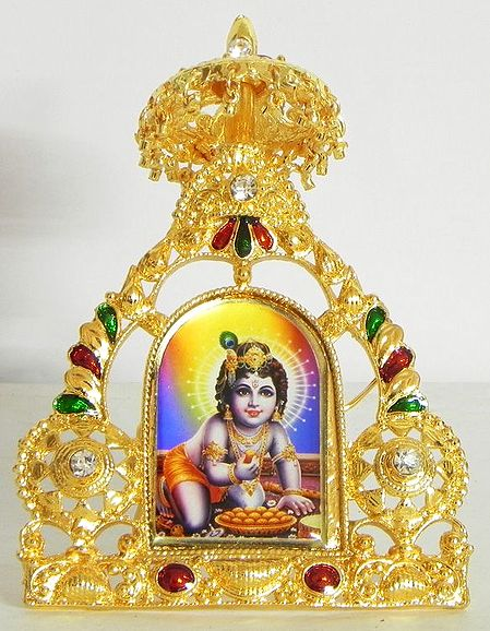 Bal Gopal on Stone Studded and Golden Carved Metal Frame