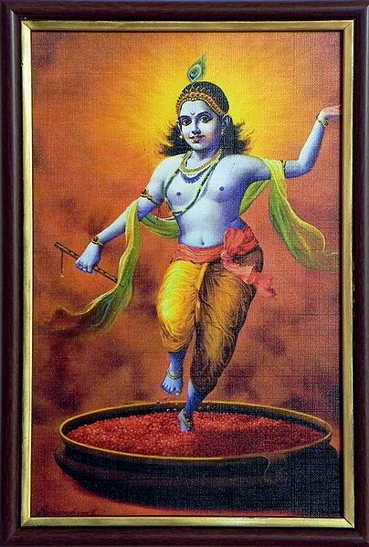 Krishna Dancing On Rose Petals - Print on Harboard - Wall Hanging