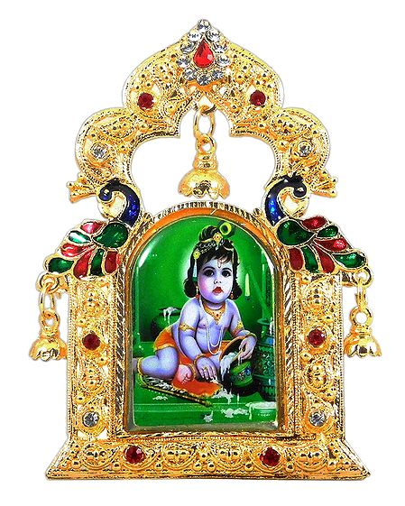 Krishna Picture on Stone Studded and Golden Carved Metal Frame