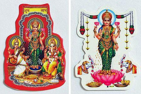 Lakshmi, Saraswati and Ganesha - Set of Two Stickers