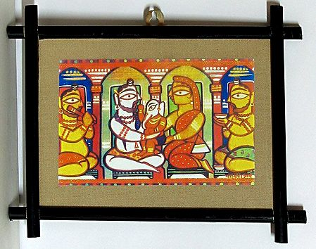 Lord Shiva, Parvati and Ganesha - Wall Hanging