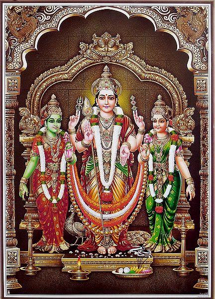 Lord Murugan with His 2 Consorts, Devyani and Valli