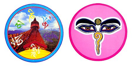Pashupatinath Temple and Shiva Face - Set of 2 Stickers