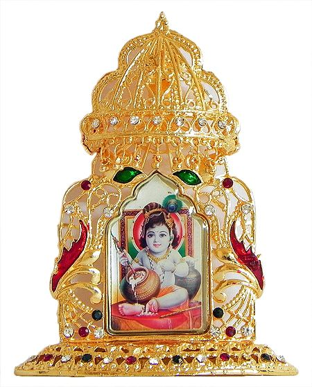Makhan Chor Krishna on Golden Throne Metal Frame - Table Top Picture