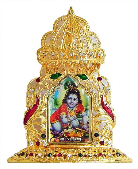 Laddu Gopal on Golden Throne Metal Frame - Table Top Picture