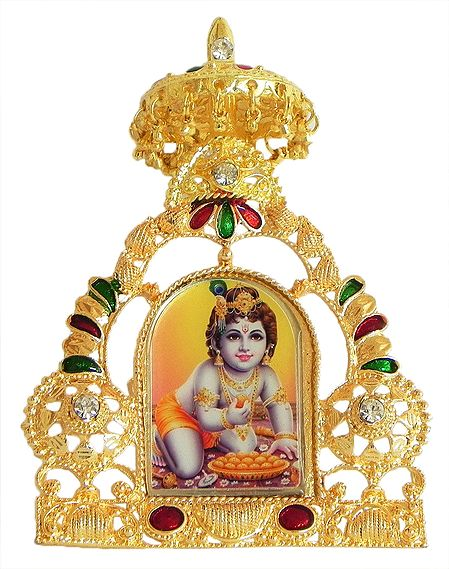 Bal Gopal on Golden Throne - Table Top Picture