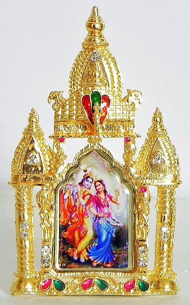 Radha Krishna on Stone Studded and Golden Carved Metal Frame