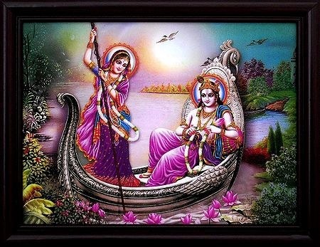 Radha Krishna Enjoying Boat Ride