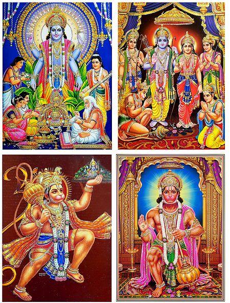 Satynarayan,Ram Darbar and Hanuman - Set of 4 Glitter Posters