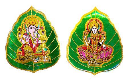 Lakshmi Ganesha on Pipul Leaf - Set of 2 Stickers