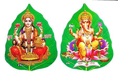Lakshmi and Ganesha on Pipul Leaf - Set of 2 Stickers
