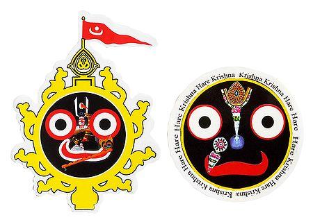 Jagannath, Balaram, Subhadra and Face of Jagannathdev - Set of 2 Stickers