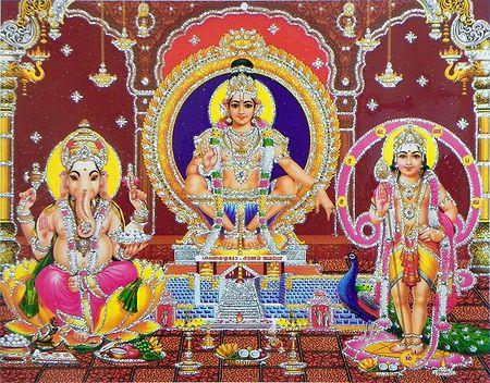 Lord Ayyappan, Kartikeya and Ganesha - (Laminated Glitter Poster)