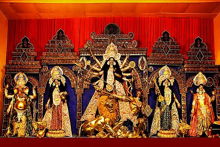 Durga with Her Children Slaying Mahishasura