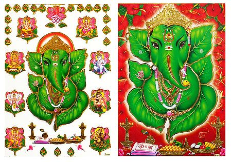 Ashta Vinayak and Leaf Ganesha - Set of 2 Posters