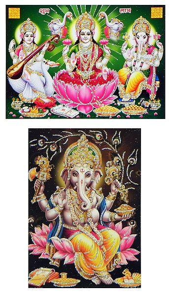 Lakshmi,Saraswati and Ganesha - Set of 2 Glitter Posters