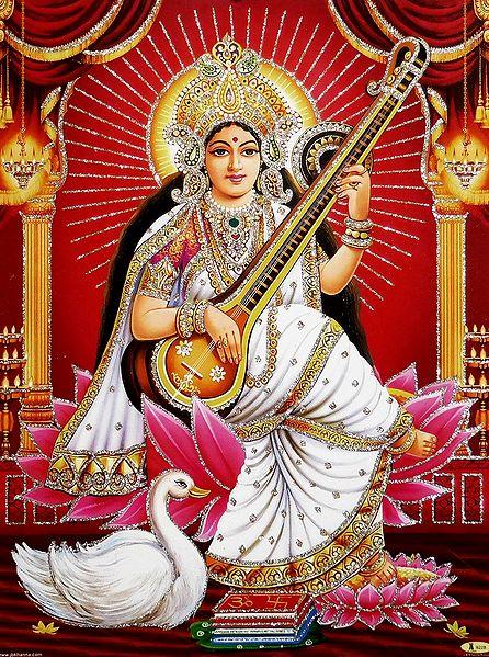 Goddess Saraswati - Unframed Glitter Poster