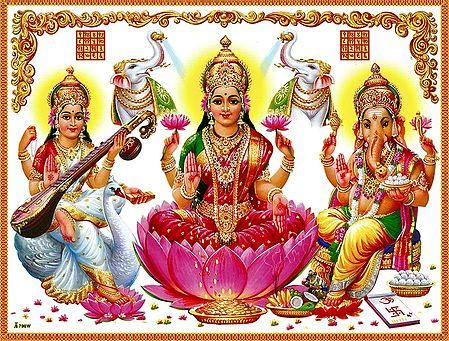Lakshmi, Sarasawti and Ganesha