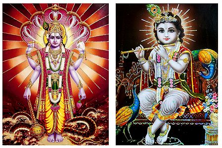 Vishnu and Krishna - Set of 2 Glitter Poster