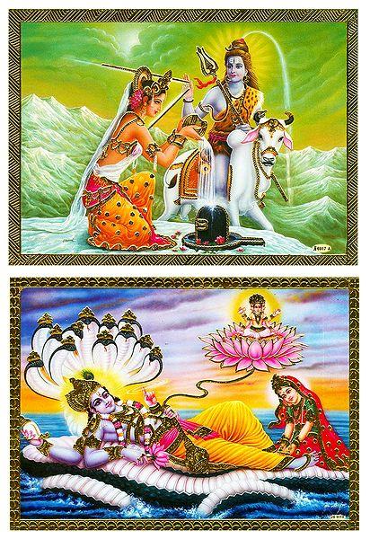 Vishnu Lakshmi and Shiva Parvati - Set of 2 Posters