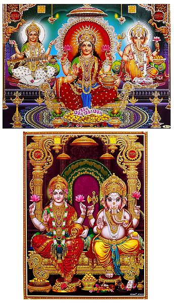 Lakshmi, Saraswati and Ganesha - Set of 2 Glitter Poster