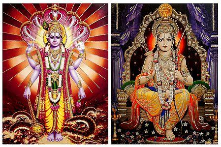 Vishnu and Rama - Set of 2 Glitter Poster