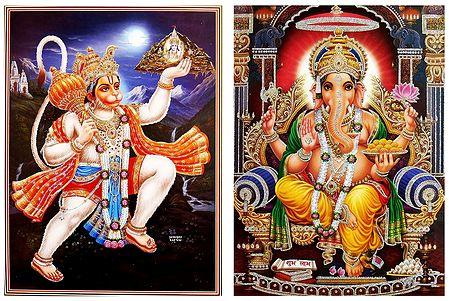 Ganesha,and Hanuman - Set of 2 Glitter Posters