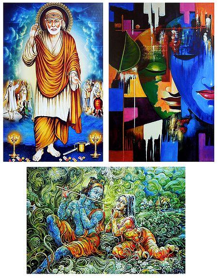 Shirdi Sai Baba and Radha Krishna - Set of 3 Posters