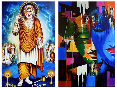 Shirdi Sai Baba and Radha Krishna - Set of 2 Posters
