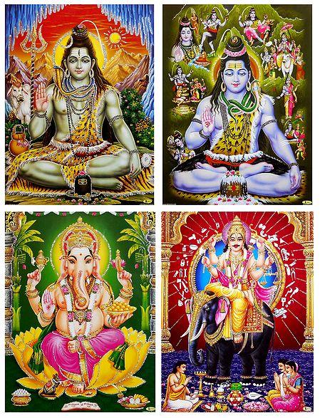 Shiva, Ganesha and Vishwakarma - Unframed 4 Glitter Poster