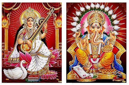 Saraswati,Ganesha - Unframed 2 Glitter Poster