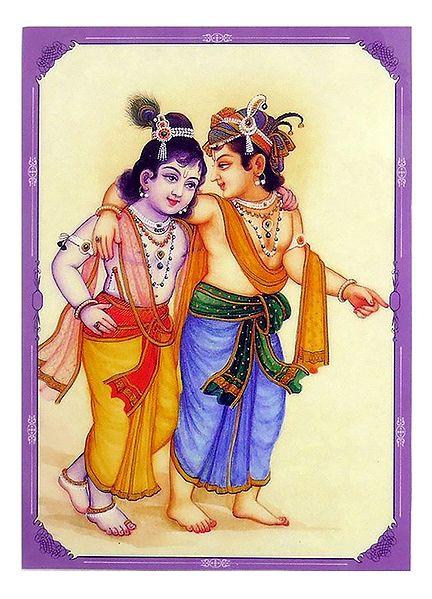 Krishna, Balaram and Decorative Headgear - Double Sided Laminated Poster