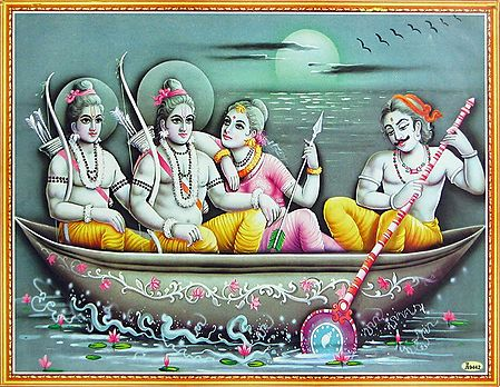 The Hunter King Guha Ferries Rama, Sita and Lakshmana Across the River Vaitarani