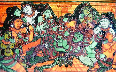 Krishna with Radha and other Gopinis