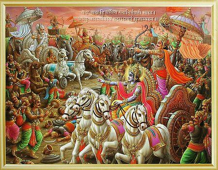 Arjuna Fights Bhishma in the Battle of Kurukshetra