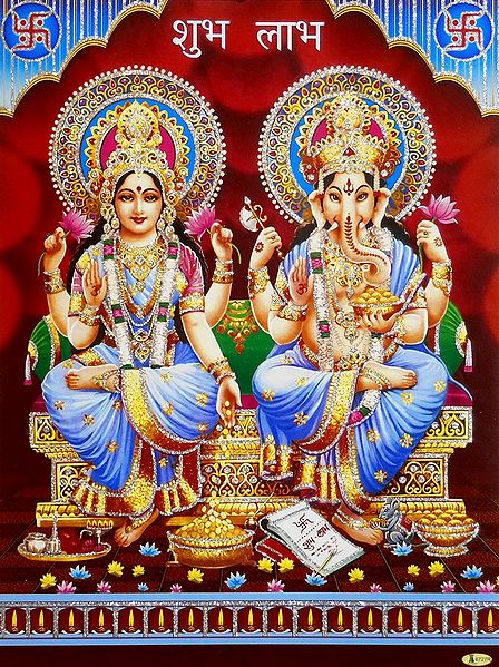 Lakshmi and Ganesh - Unframed Glitter Poster