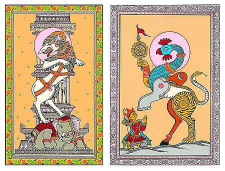 Gajasingha Bidala and Naba Gunjara - 2 Patachitra Posters - Unframed