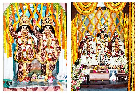 Gaur, Nitai and Gaurangadev with Lakshmipriya and Vishnupriya - Set of 2 Photo Prints