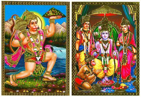 Ram Darbar and Hanuman - 2 Posters